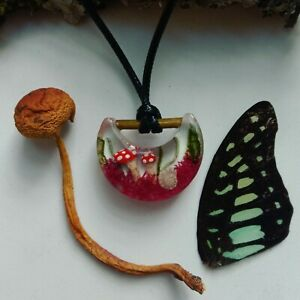 Celestial Moon Zodiac Goblincore Cottagecore Necklace Real Mushroom Pagan Fairy