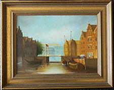 Ölbild niederländische Landschaft Gracht Brücke signiert C. Khoukay