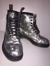 Womens Silver Jewel Hologram Dr Martens Ankle Boots Uk5 EU38