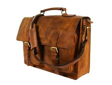 "Mens Genuine Leather Office Briefcase 15"" Laptop Satchel Business Messenger Bag"