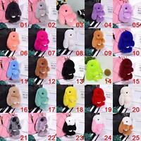 Genuine Soft Fur Bunny Fluffy Rabbit Keyring Pompom Keychain Bag Charm Pendant