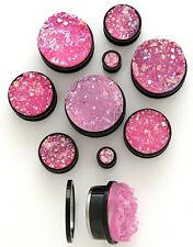 PAIR Synthetic Rough Druzy Stone Screw Fit Tunnels Plugs Gauges Body Jewelry