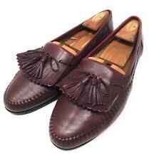 Santoni Burgundy Leather Kilt Tassel Casual Loafer Shoes Men's Size 10 D