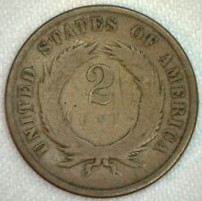 1867 US Two Cent Bronze Coin 2c United States Type Coin Good K62