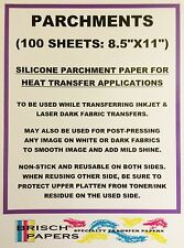 """SILICONE PARCHMENT PAPER FOR HEAT TRANSFER APPLICATIONS (8.5""""x11"""") 100 SHEETS/PK"""