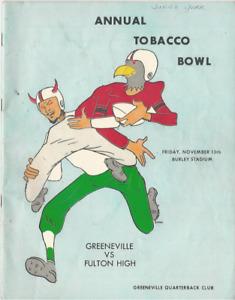 1964 ANNUAL TOBACCO BOWL GREENEVILLE VS FULTON TN 38 PGS FOOTBALL PROGRAM PICS