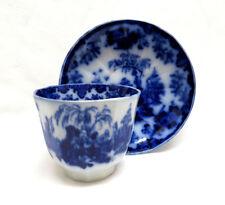 Antique J & G Alcock England Circa 1839 Flow Blue SCINDE Handless Cup & Saucer
