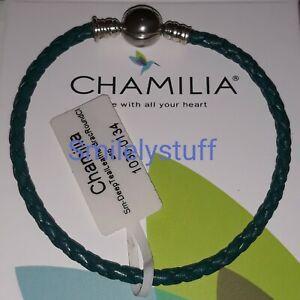 Retired Genuine CHAMILIA 925 Silver Dark Green Leather Snap BRACELET charm S,M,L