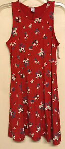 NEW size petite small Old Navy swing dress red floral jersey knit PS sleeveless