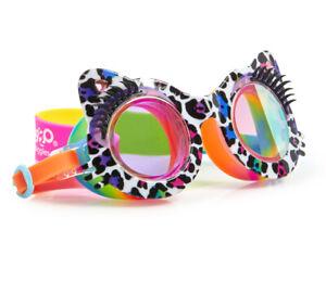 Girls fun eyelash leopard print swimming goggles with rainbow strap