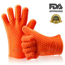 2 Barbecue Heat Resistant Silicone Gloves Oven Kitchen Grill BBQ Cooking Mitts
