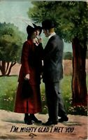 Romance Card - Might Glad I Met You 1914 Courtship Vintage Postcard BB1