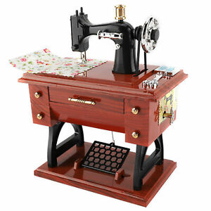 Treadle Sewing Machine Style Music Box Toy Anniversary Birthday Gift Table Decor