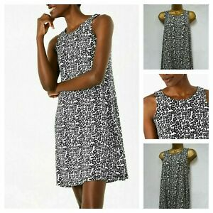 NEW M&S TUNIC DRESS SWING JERSEY BLACK WHITE FLORAL DITSY SUMMER PLUS 6 - 24