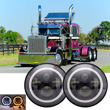 7inch LED Round Headlights H4 H13 Hi/Lo Beam 2Pcs DRL Fit For Peterbilt 379 359