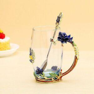 Clear Glass Spoon Set Rose Enamel Crystal Tea Cup Coffee Mug Butterfly Painted