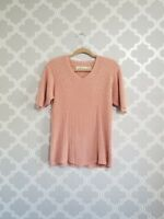 Orvis pink knit ribbed blouse