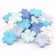 Blue Tone Mulberry Paper Blooms Flowers Crafts Card Making Embellishment Pbc190