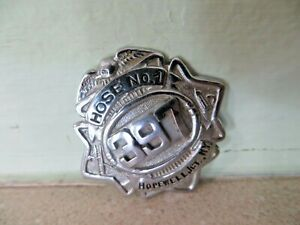 Obsolete early Hose No.1,Hopewell Jct. NY Fire Department vtg Uniform hat badge