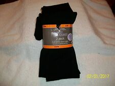 SECRETS TREASURES 2 PACK FOOTED FLEECE TIGHTS (OPAQUE) BLACK(small- med)
