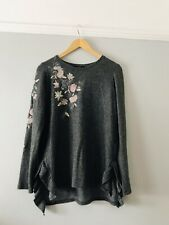 Next Size 14 Very Soft Grey Tunic Top With Floral Embroidery Sweater Top