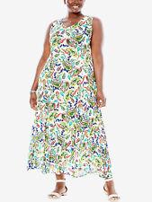 Ladies Maxi Dress Plus Size 22/24 Long Summer Sleeveless White Paisley Print