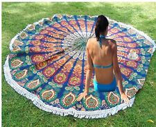 Indian 70' peacock tapestry mandala round cotton table cloth beach blanket throw