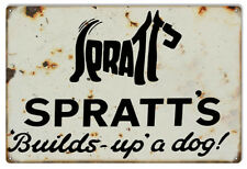 Spratts Builds Up A Dog Reproduction Nostalgic Metal Sign 12x18