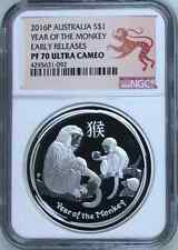 Australia 2016 P S$1 Silver Monkey NGC Proof-70 UC Australian Coin Bullion