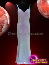 Floor Length White Sequined Gown with Spaghetti Straps and Sweetheart Neckline