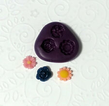 Silicone Molds Miniature Flower Moulds (9-10mm) Dollhouse Clay PMC Jewelry Deco