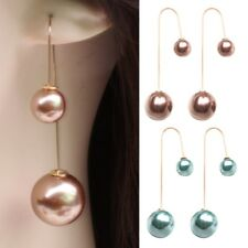 Fashion Pearl Drop Dangle Long Chain Threader Double-Sided Earrings Jewelry Gift