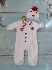 Gorgeous Next Babygrow BNWT 2 Piece Snowman Xmas Outfit up to 3 months hat HW