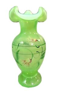 """QVC Fenton Glass Key Lime Green Opalescent Handpainted 8 3/4"""" Vase, new"""