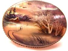 Beautiful Antique Handpainted Brooch of Country Scene
