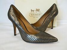Coach Size 6 M Ellin Gunmetal Foil Snake Leather Heels New Womens Shoes NWB