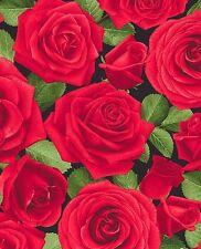 Glamour Chong-A Hwang Timeless Treasures Fabric Red Single Roses 1/2 Yard Last 1