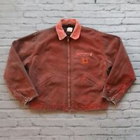 Vintage 90s Carhartt Lined Work Jacket Overyed Neon Orange Made in USA WIP