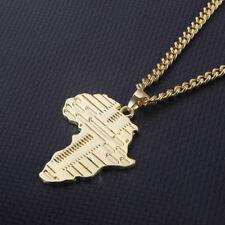 1PC Hip Hop Necklace Men Gold African Map Symbol Shape Pendant Chain Jewelry