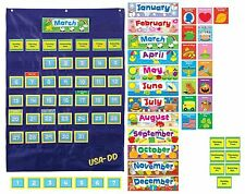 Custom Calendar Pocket Chart Teacher Classroom English School Organize Wall Fun