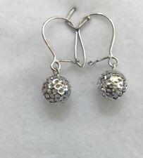 18k Solid White Gold Hoop Back Ball Earrings 1.40  Grams