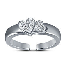 Wedding Band Solitaire Adjustable Toe Ring Ladies Round Cut Diamond Double Heart