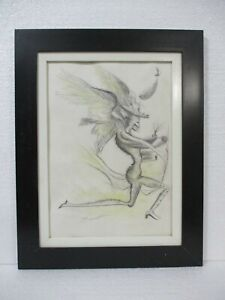 AMAZING SALVADOR DALI DRAWING ON PAPER 1930 WITH FRAME NICE