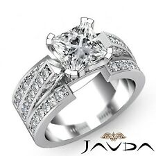 2.25ct Trio Shank Pave Princess Diamond Engagement Ring GIA E-VVS1 White Gold