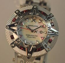 New Ladies Xoskeleton Superlative Star Red Ruby Stones White MOP Dial Watch