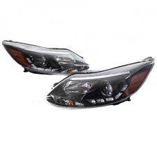 12 13 14 FORD FOCUS S SE SEL ST DRL LED PROJECTOR HEADLIGHT LAMP BLACK PAIR USED