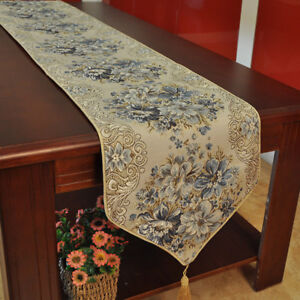 Floral Table Runner Luxury Jacquard Table Cloth Home Dinner Fringed Mat Decor