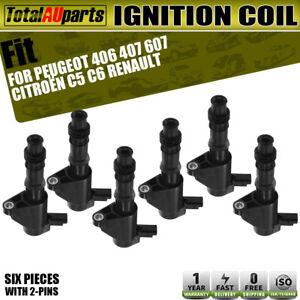 6x Ignition Coils for Citroen C5 C6 Peugeot 406 407 607 RenaultLaguna 2.9L 3.0L