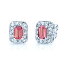 1.75 TCW 14k White Gold Emerald Cut Pink Tourmaline Octagon Diamond Earrings