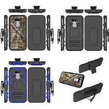 For LG Phoenix 5, Belt Clip Holster Shockproof Rugged Tough Armor Case + glass